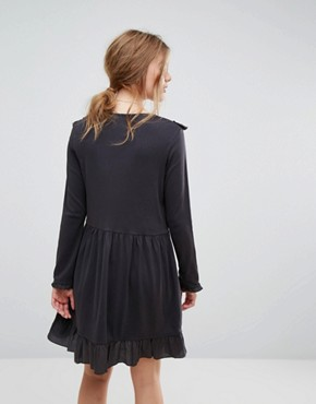 photo Ruffle Mini Dress in Jersey by Leon and Harper, color Off Black - Image 2