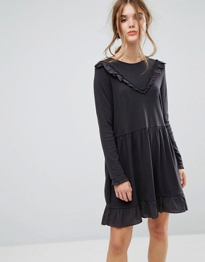 photo Ruffle Mini Dress in Jersey by Leon and Harper, color Off Black - Image 1