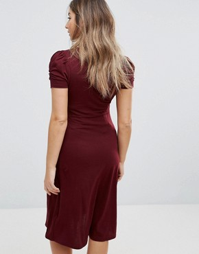 photo Puff Sleeve Dress by New Look Maternity, color Purple - Image 2