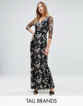 photo All Over Floral Embroidered Maxi Dress by Little Mistress Tall, color Multi - Image 1