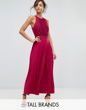 photo Lace Applique Top Maxi Dress by Little Mistress Tall, color Berry - Image 1