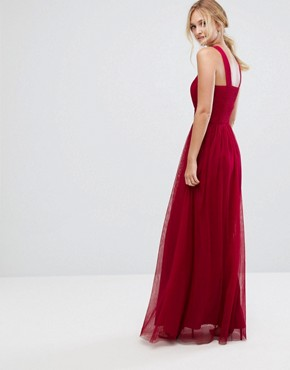 photo Cross Neck Maxi Tulle Dress by Little Mistress Tall, color Berry - Image 2