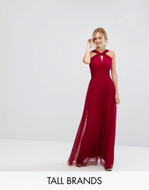 photo Cross Neck Maxi Tulle Dress by Little Mistress Tall, color Berry - Image 1