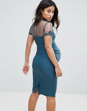 photo Midi Dress with Lace Embellished Sheer Bodice by Little Mistress Maternity, color Peacock - Image 2