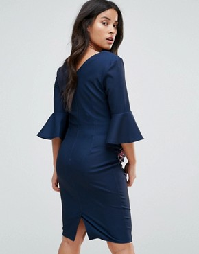 photo Printed Bodycon Dress with Fluted Sleeve by Little Mistress Maternity, color Multi - Image 2