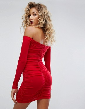 photo Off Shoulder Bodycon Dress with Ruching by Motel, color Red - Image 2