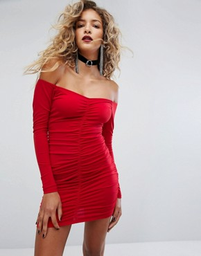 photo Off Shoulder Bodycon Dress with Ruching by Motel, color Red - Image 1