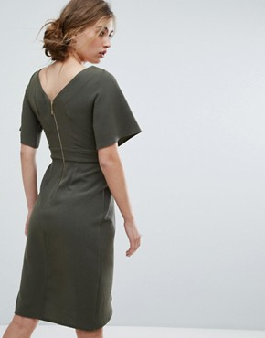 photo Tie Front Dress with Kimono Sleeve by Closet London, color Khaki - Image 2