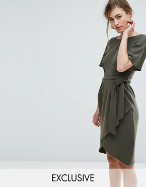 photo Tie Front Dress with Kimono Sleeve by Closet London, color Khaki - Image 1