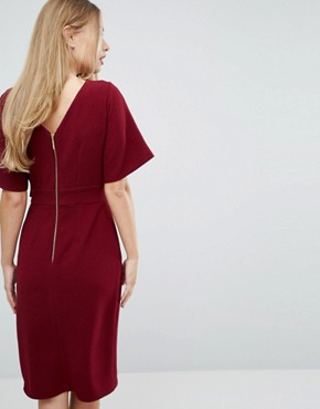 photo Tie Front Dress with Kimono Sleeve by Closet London, color Berry - Image 2