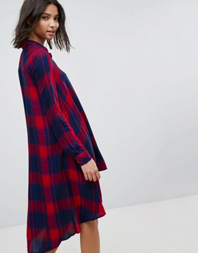 photo Check Midi Shirt Dress by Stradivarius, color Red - Image 2