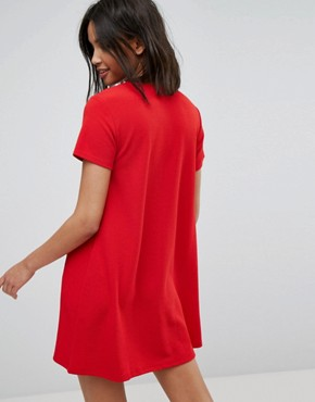 photo Short Sleeve Shift Dress by Stradivarius, color Red - Image 2