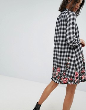 photo Check Mini Shirt Dress with Floral Print by Stradivarius, color Multi - Image 2