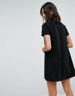 photo Short Sleeve Shift Dress by Stradivarius, color Black - Image 2