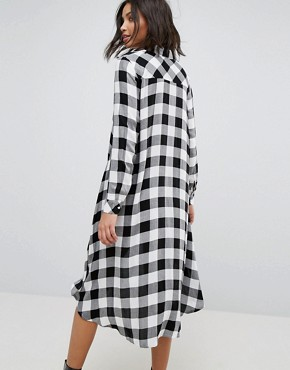 photo Check Midi Shirt Dress by Stradivarius, color Black - Image 2