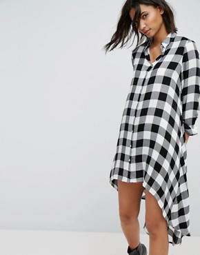 photo Check Midi Shirt Dress by Stradivarius, color Black - Image 1