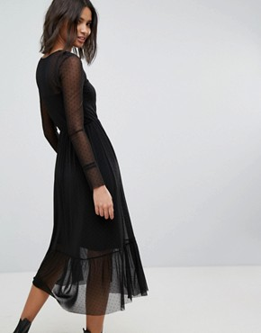 photo Mesh Maxi Dress by Stradivarius, color Black - Image 2