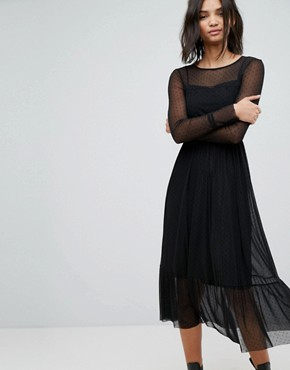 photo Mesh Maxi Dress by Stradivarius, color Black - Image 1