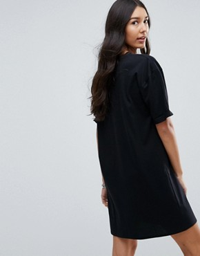 photo T-Shirt Dress with Rolled Sleeves by ASOS TALL ULTIMATE, color Black - Image 2