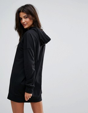 photo Long Sweat Hoodie Dress by Vero Moda, color Black - Image 2