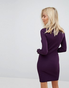 photo Ribbed Turtle Neck Dress by Bershka, color Purple - Image 2