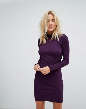 photo Ribbed Turtle Neck Dress by Bershka, color Purple - Image 1