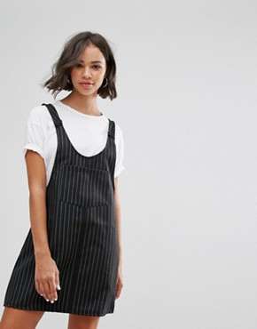 photo Pinstripe Dungaree Dress by Pull&Bear, color Multi - Image 1