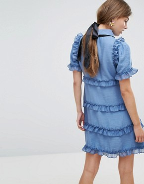photo Tea Dress with Ruffles by Sister Jane, color Sky Blue - Image 2