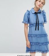 photo Tea Dress with Ruffles by Sister Jane, color Sky Blue - Image 1