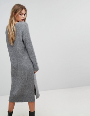 photo Knitted Deep V-Neck Dress by Selected, color Grey - Image 2