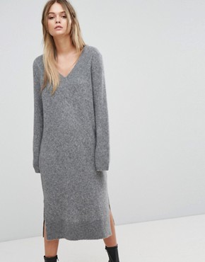 photo Knitted Deep V-Neck Dress by Selected, color Grey - Image 1