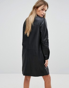 photo Leather Dress by Selected, color Black - Image 2