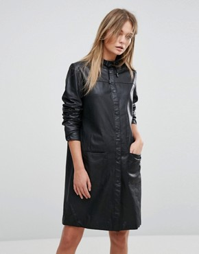 photo Leather Dress by Selected, color Black - Image 1