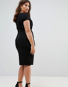 photo Pencil Dress with Ruched Cap Sleeve by Closet London Plus, color Black - Image 2