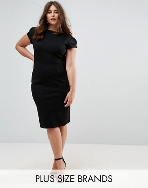 photo Pencil Dress with Ruched Cap Sleeve by Closet London Plus, color Black - Image 1