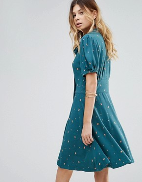 photo Abbie Printed Puff Sleeve Dress by Free People, color Green - Image 2