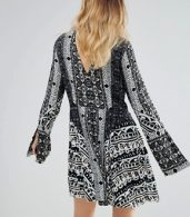 photo Tegan Border Print Dress by Free People, color Black Combo - Image 2