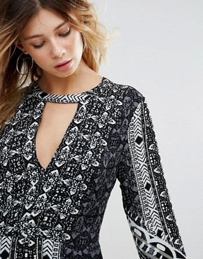 photo Tegan Border Print Dress by Free People, color Black Combo - Image 3