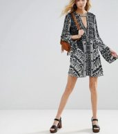 photo Tegan Border Print Dress by Free People, color Black Combo - Image 4