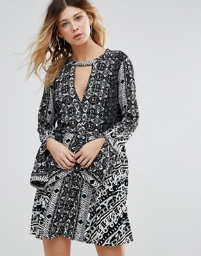 photo Tegan Border Print Dress by Free People, color Black Combo - Image 1