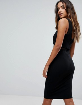 photo Mesh Insert Bodycon Dress by New Look, color Black - Image 2