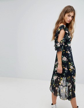 photo One Sleeve Floral Tea Dress by Bershka, color Black - Image 2