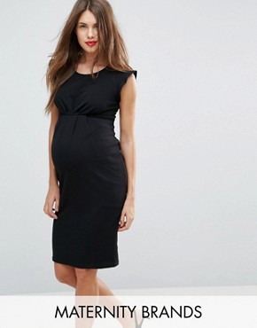 photo Frill Shoulder Dress by New Look Maternity, color Black - Image 1
