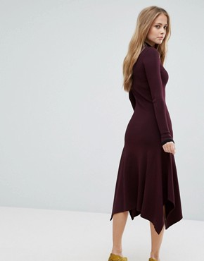 photo Double Collar Jumper Dress by Warehouse Premium, color Berry - Image 2