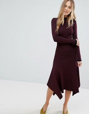photo Double Collar Jumper Dress by Warehouse Premium, color Berry - Image 1