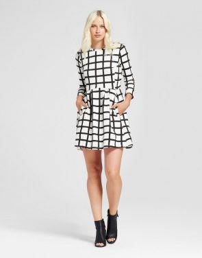 photo Printed 3/4 Sleeve Crew Neck Dress by K by Kersh, color Black Off-White - Image 1