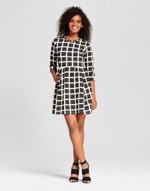 photo 3/4 Sleeve Windowpane Dress by K by Kersh, color Black & White - Image 1
