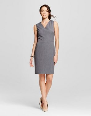 photo Sleeveless Bi- Stretch Twill Occupational Dress by Merona, color Light Grey - Image 1