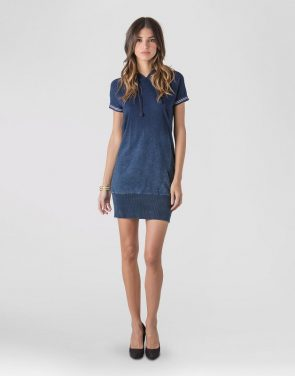 photo Cotton Indigo knit hooded Popover Dress by S&P by Standards and Practices, color Dark Blue Indigo - Image 1