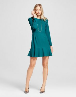 photo Long Sleeve Ruffle Hem Dress by Eclair, color Turquoise - Image 1